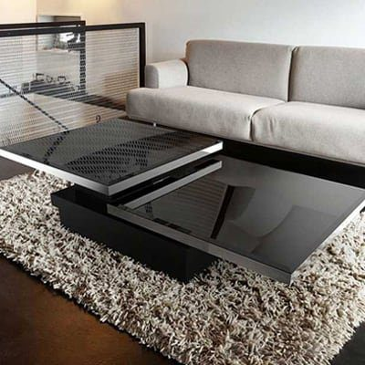 Sigma coffee table from Akante - Black lacquered